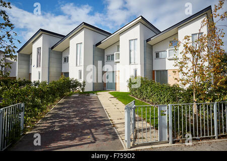 Modern houses in Manchester Uk development House home place living environment building street Suburban suburbia - Stock Photo