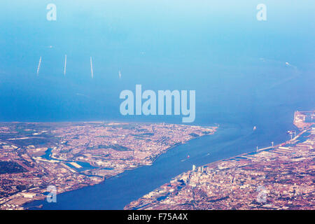 The Burbo Bank offshore wind farm off the Wirral penunsular, with the Mersey estuary and Liverpool from the air. - Stock Photo