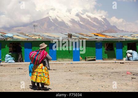 The peak of Illimani (6348 metres) from El Alto above, La Paz, Bolivia. La Paz and El Alto are critically short - Stock Photo