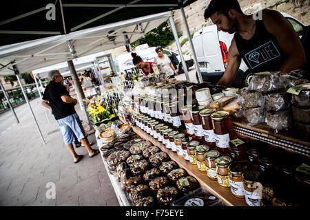 Street market at Montserrat, Barcelona, Spain - Stock Photo