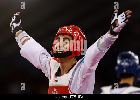 Aykhan Taghizade (AZE) celebrates after beating Joel Gonzalez Bonilla (ESP). Taekwondo. Crystal Hall. Baku2015. - Stock Photo
