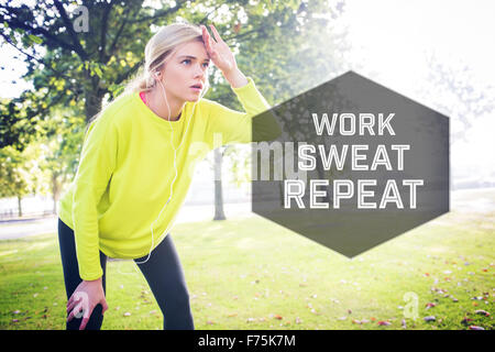 Composite image of active exhausted blonde pausing after running - Stock Photo