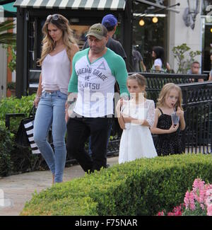 UFC commentator Joe Rogan out and about in Beverly Hills with his family  Featuring: Joe Rogan, Jessica Rogan Where: - Stock Photo