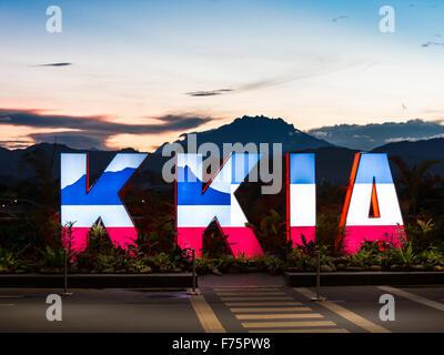 Kota Kinabalu,Sabah,Malaysia-November 10,2015:Kota Kinabalu International Airport and Mount Kinabalu,Sabah,Malaysia - Stock Photo