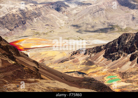 Colourful lakes below the peak of Chacaltaya in the Bolivian Andes, with a lake discoloured by mine effluent. - Stock Photo