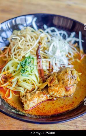 Egg Noodle In Chicken Curry Kao Soi Kai Stock Photo