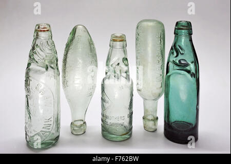 Antique, mineral and soda water bottles, india, asia - Stock Photo