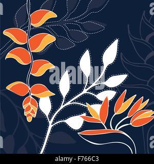 Tropical flower hand drawn illustration pattern - Stock Photo