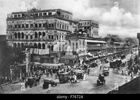 Old Vintage 1900s photo Harrison road now Mahatma Gandhi Road Calcutta Kolkata West Bengal India Asia - Stock Photo