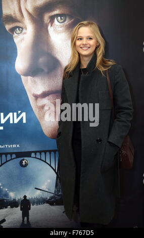 Moscow, Russia. 26th Nov, 2015. Actress Alexandra Bortich at the Moscow premiere of Steven Spielberg's drama Bridge - Stock Photo