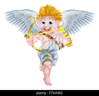 Cartoon valentines day cupid winged angel character aiming his golden bow and heart arrow - Stock Photo