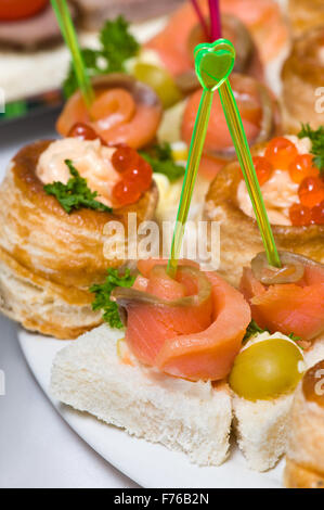 seafood canapes - Stock Photo