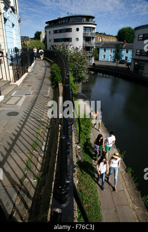 View from Lyme Terrace looking down on to the Regent's Canal at Camden Town, London,  UK - Stock Photo