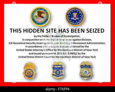 'THIS HIDDEN SITE HAS BEEN SEIZED' law enforcement screen splash that greeted visitors to the Silk Road online black - Stock Photo