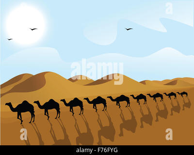 silhouette view of row of camels in a desert - Stock Photo