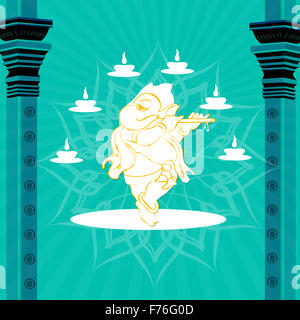 statue of god ganesha with pillars and lamps - Stock Photo