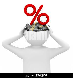 businessman thinks of money. Isolated 3D image - Stock Photo