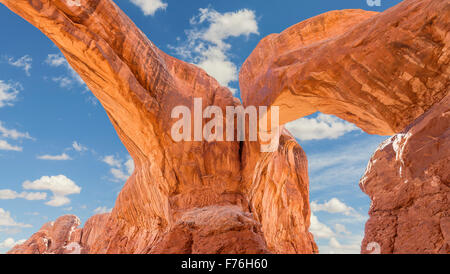 Double Arch in the Arches National Park, USA. - Stock Photo