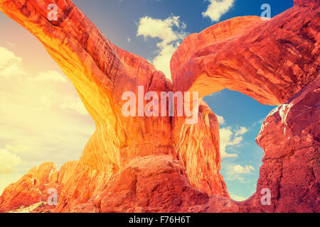 Sunset at Double Arch in the Arches National Park, USA. - Stock Photo