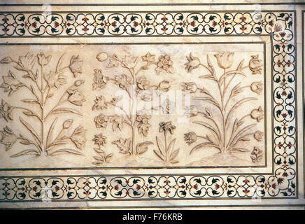 Motif designs on taj mahal agra delhi india asia stock for Taj mahal exterior design