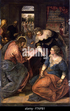 Jacopo Tintoretto - Christ in the House of Mary and Martha - Stock Photo