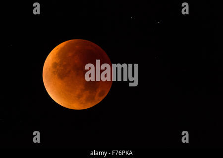 Lunar Eclipse, Red supermoon, Blood moon / Blutmond, 28th September 2015. - Stock Photo