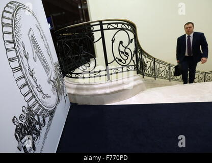 Moscow, Russia. 26th Nov, 2015. A man attends the 7th Annual Financial Forum of Russia. Credit:  Alexander Shcherbak/TASS/Alamy - Stock Photo