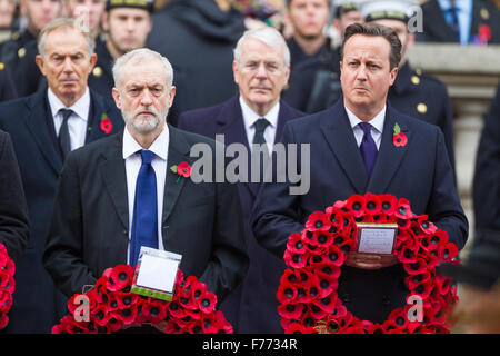 The Leader of the Opposition, Jeremy Corbyn and the Prime Minister, David Cameron. Behind them Tony Blair and John - Stock Photo