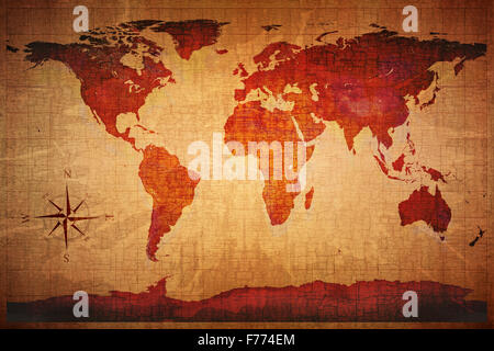 World Map on old grungy antique and yellow cracked paper background (Map derived from http://visibleearth.nasa.gov - Stock Photo