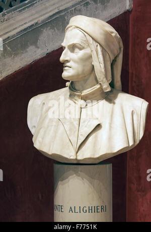 Bust of the poet Dante Alighieri, Instituto di Scienze Lettere ed Arti Venete, Campo Morosini, Venice, Veneto, Italy - Stock Photo