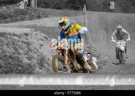 Motocross racing at Blaxhall Suffolk, England - Stock Photo