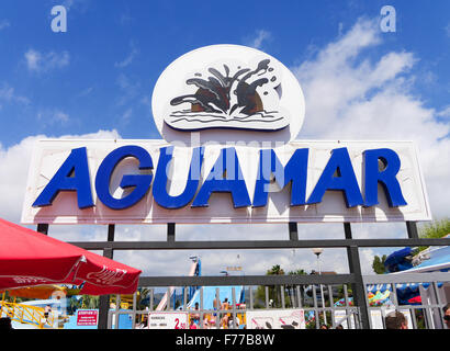 Entrance sign to Aguamar Water Park, Platja d'en Bossa, Ibiza Spain - Stock Photo