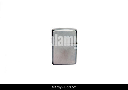 Silver metal zippo lighter - Stock Photo
