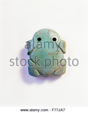 Turquoise frog, Anasazi culture, found near [Mesa Verde National Park] Colorado, USA. - Stock Photo