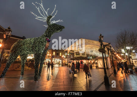 Warrington town centre decorated with christmas lights and decorations. Cheshire North West England. The Old Fishmarket - Stock Photo