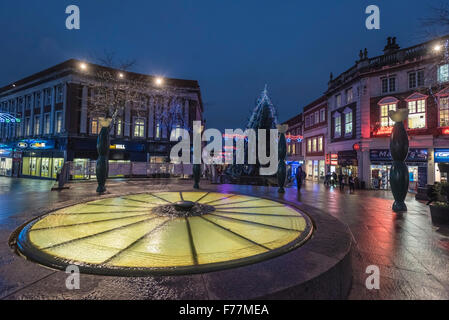 Warrington town centre decorated with christmas lights and decorations. Cheshire North West England. - Stock Photo