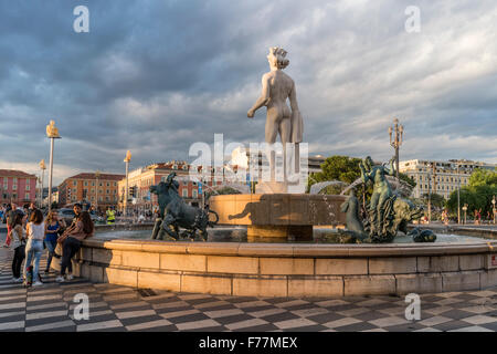 Fountain of the Sun with Apollo statue on Place Massena in Nice, France - Stock Photo