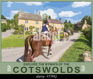A poster style illustration from a photograph of horse riders in the village of Stanton, Worcestershire, England, - Stock Photo