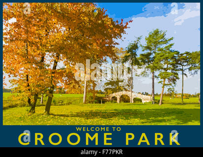 A poster style illustration from a photograph of autumn at Croome Park and Chinese Bridge, Worcestershire, England, - Stock Photo