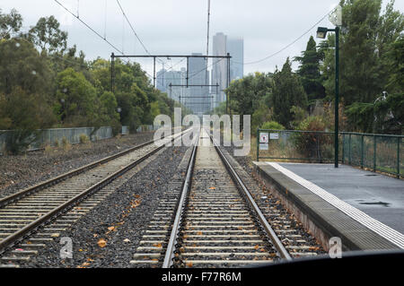 View from Graham Street station along the Melbourne Tramways tracks towards downtown Melbourne, Victoria, Australia, - Stock Photo