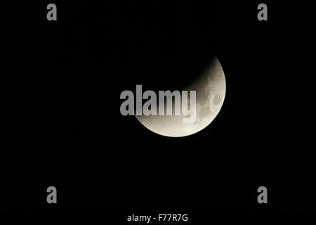Lunar Eclipse fullmoon / Mondfinsternis,  leading to blood moon, September 28th 2015. - Stock Photo