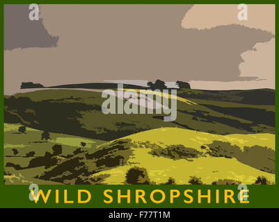 A poster style illustration from a photograph of the Shropshire Hills in evening light, Long Mynd, Shropshire, England, - Stock Photo