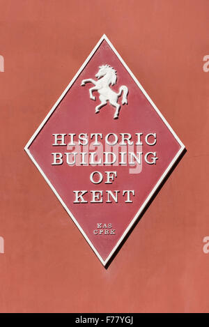 Historic building of Kent sign on house, West Street, Faversham, Kent, England, United Kingdom - Stock Photo