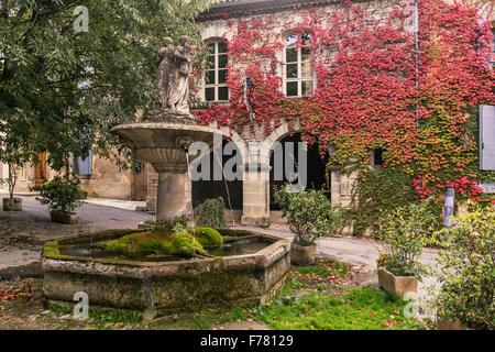 Fountain in Saignon, facade with wild wine in autumn, Provence, France
