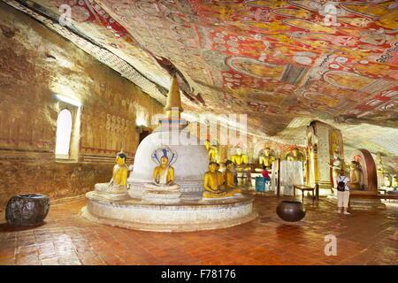 Sri Lanka - Buddish Cave Temple Dambulla, interior of temple, Kandy province, UNESCO World Heritage Site - Stock Photo