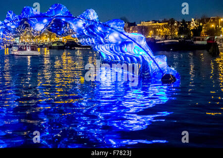 Amsterdam, The Netherlands, 26th November 2015: Light Wave, by Anita Doornhein, at the fourth annual Amsterdam Light - Stock Photo