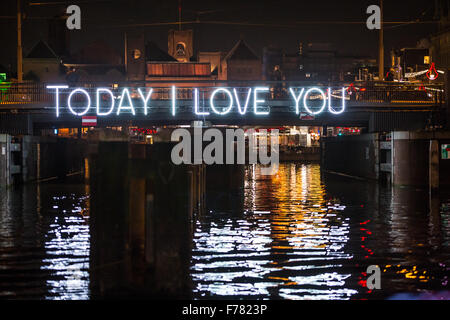 Amsterdam, The Netherlands, 26th November 2015: Today I Love You, by Massimo Uberti & Marco Pollice, at the fourth - Stock Photo