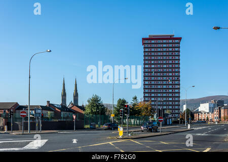 Divis Tower standing at the foot of Falls Road in Belfast - Stock Photo
