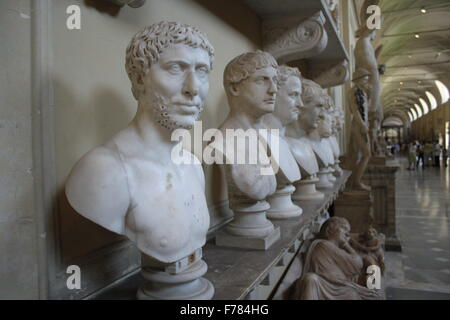 Marble busts in the Vatican Museum - Stock Photo