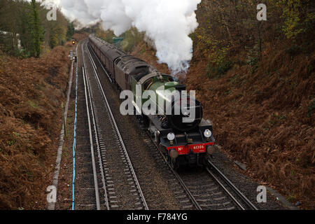 UK. 26th November, 2015. 61306 Mayflower, one of two surviving B1 Class locomotives, heads the Cathedrals Express - Stock Photo